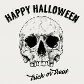 Halloween pozdrav label, ručně tažené lebky, vintage typografie, vektorová design — Stock vektor