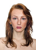 Freckled girl with red hair portrait — Stock Photo