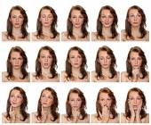 Portraits of freckled girl with expressions — Stock Photo