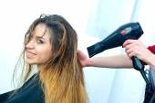 Drying hair in salon — Stock Photo