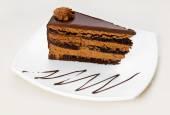 Homemade chocolate cake piece — Stock Photo