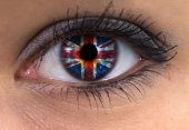 Woman eye with great britain flag — Stock Photo