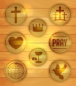 Set of Wooden Religious Icons Illustration — Stock Vector