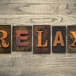 Relax Concept Wooden Letterpress Type — Stock Photo #62111885