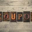 Coupon Concept Wooden Letterpress Type — Stock Photo #62281477