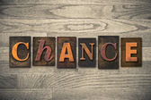 Chance Concept Wooden Letterpress Type — ストック写真