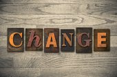 Change Concept Wooden Letterpress Type — Foto de Stock