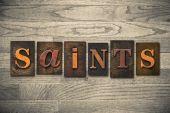 Saints Concept Wooden Letterpress Type — Stock Photo