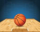 Basketball Court and Ball Tournament Illustration — Stock Vector