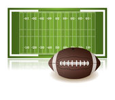 American Football Field and Ball Isolated on White — Stock Vector