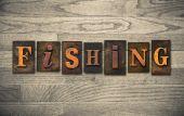Fishing Wooden Letterpress Concept — Stock Photo
