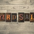 Yard Sale Wooden Letterpress Concept — Stock Photo #63114999