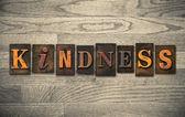 Kindness Wooden Letterpress Concept — Fotografia Stock