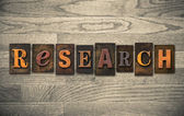 Research Wooden Letterpress Concept — Stock Photo