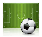 Soccer Ball Football and Field Isolated Illustration — Stock Vector