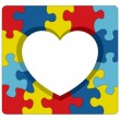 Autism Awareness Puzzle Heart Illustration — Stock Vector #64411809