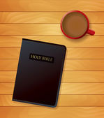 Bible and Coffee Devotional Concept Illustration — Stock Vector