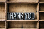 Thank You Letterpress Type in Drawer — Stock Photo