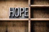 Hope Letterpress Type in Drawer — Stock Photo
