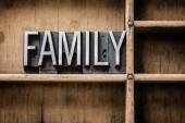 Family Letterpress Type in Drawer — Stock Photo