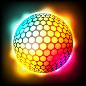Glowing Colorful Golf Ball Dimpled Sphere Illustration — Stock Vector