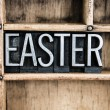 Easter Concept Metal Letterpress Word in Drawer — Stock Photo #66217423