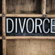 Divorce Concept Metal Letterpress Word in Drawer — Stock Photo #66218573