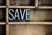 Save Concept Metal Letterpress Word in Drawer — Stock Photo