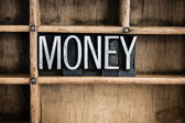 Money Concept Metal Letterpress Word in Drawer — Stock Photo