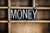 Pengar konceptet metall boktryck Word i låda — Stockfoto