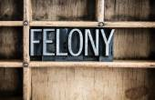 Felony Concept Metal Letterpress Word in Drawer — Stock Photo