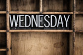 Wednesday Concept Metal Letterpress Word in Drawer — Stock Photo