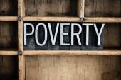 Poverty Concept Metal Letterpress Word in Drawer — Stock Photo
