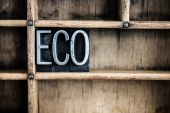 Eco Concept Metal Letterpress Word in Drawer — Stock Photo