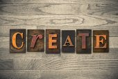 Create Wooden Letterpress Theme — Stock Photo