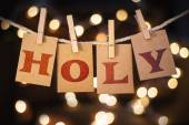 Holy Concept Clipped Cards and Lights — Stock Photo