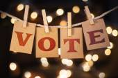 Vote Concept Clipped Cards and Lights — Stock Photo