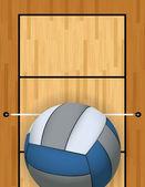 Vertikala volleyboll och beachvolleyboll domstolen bakgrund Illustration — Stockvektor