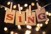 Sing Concept Clipped Cards and Lights — ストック写真