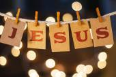 Jesus Concept Clipped Cards and Lights — Stock Photo