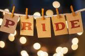 Pride Concept Clipped Cards and Lights — Stock Photo