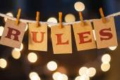 Rules Concept Clipped Cards and Lights — Stock Photo