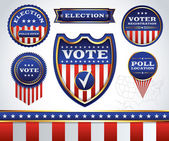 Set of Election and Voting Badges and Labels — Stock Vector