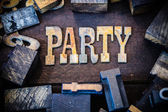 Party Concept Wood and Rusted Metal Letters — Stock Photo