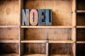 Noel Concept Wooden Letterpress Theme — Stock Photo