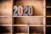 2020 Concept Wooden Letterpress Theme — Stock Photo