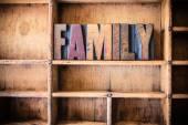 Rodzina koncepcja Typografia drewniane tematu — Zdjęcie stockowe