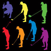 Siluety ilustrace barevné golf — Stock vektor