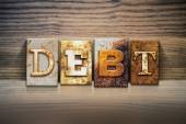 Debt Concept Letterpress Theme — Stock Photo