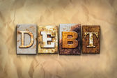 Debt Concept Rusted Metal Type — Stock Photo